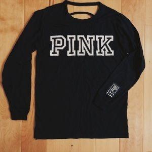 Victoria's Secret PINK Black cut-out long sleeve